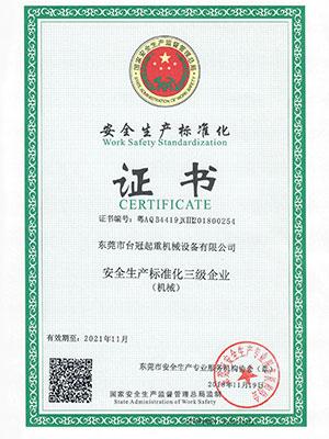 台冠-安全生产标准化证书